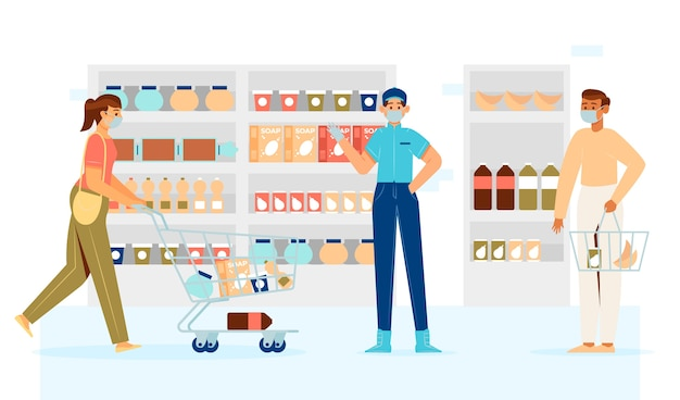 Gens, garder distance, dans, supermarché
