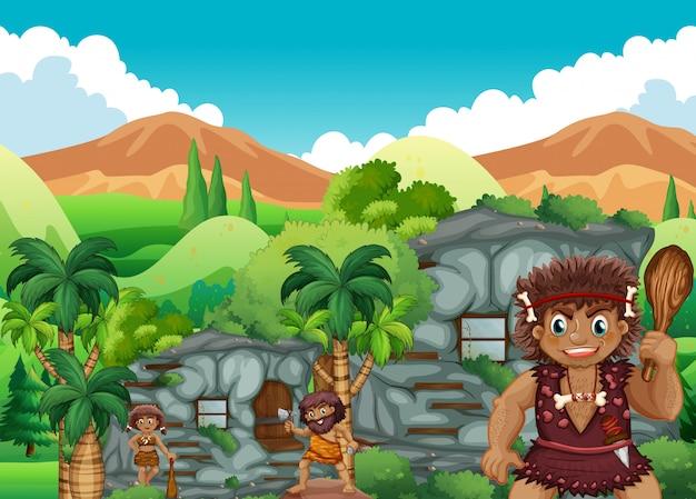 Gens de la grotte vivant ensemble dans la maison de pierre
