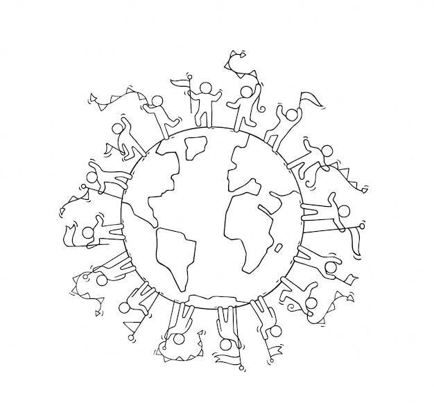 Les gens avec des guirlandes et des drapeaux dans le monde