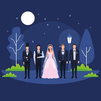 Les gens habillés pour le mariage