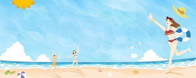 Les gens de l'heure d'été jouant à la plage doodle