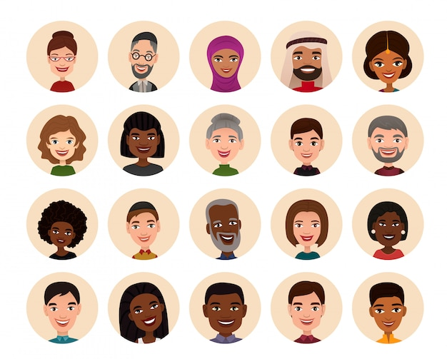 Les gens heureux autour de l'avatar