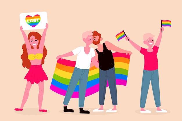 Gens heureux célébrant ensemble le jour de la fierté