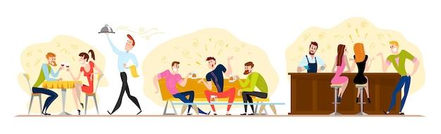 . . gens heureux drôles au café, table de bar. garçon et fille amoureux assis au restaurant à une date. soirée. serveur, personnages d'hommes joyeux.