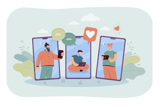 Des gens heureux sur des écrans mobiles communiquant en ligne. homme avec ordinateur portable, fille avec illustration plate de tablette