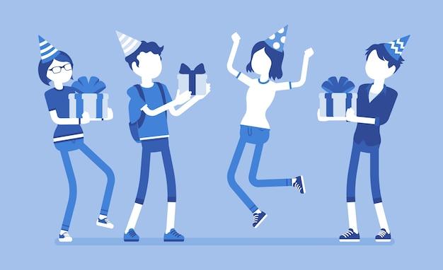 Gens heureux à la fête d'anniversaire