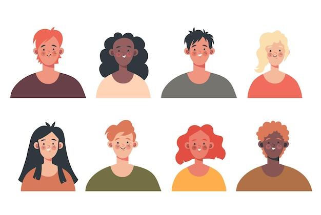 Les gens heureux homme femme travailleurs tête visage élément de conception ensemble isolé