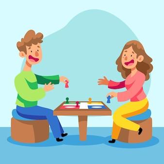 Gens heureux jouant au jeu de ludo