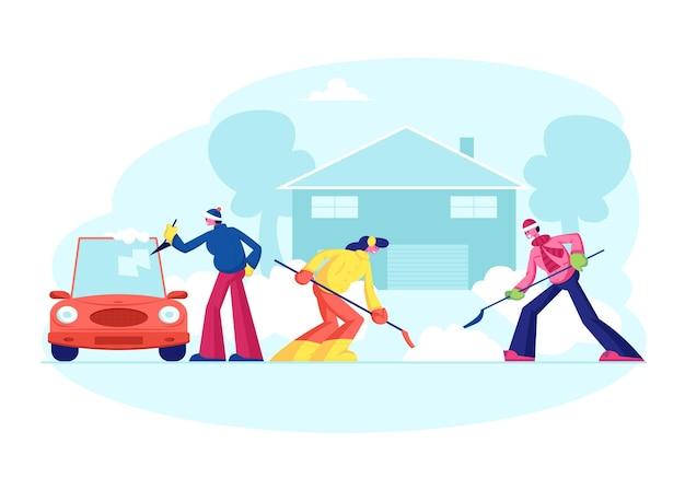 Des gens heureux nettoient la cour à la maison à quelques pas de la neige. illustration plate de dessin animé