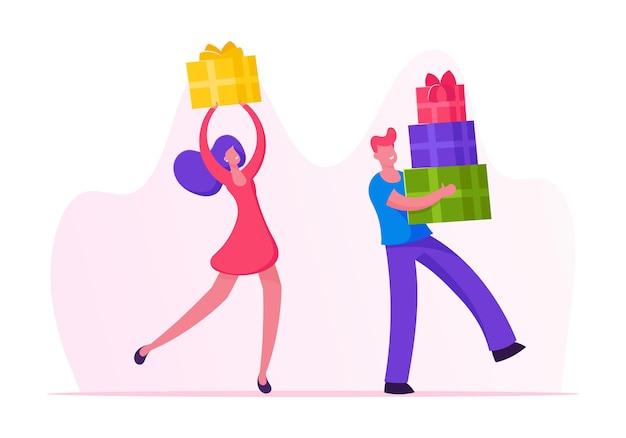 Les gens heureux portent des boîtes-cadeaux emballées avec un arc festif. illustration plate de dessin animé