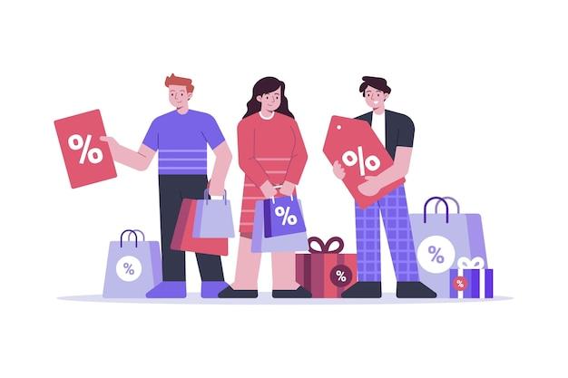 Des gens heureux avec des produits dans leurs sacs