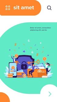 Gens heureux protégeant l'argent isolé illustration vectorielle plane