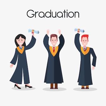 Gens heureux de remise des diplômes