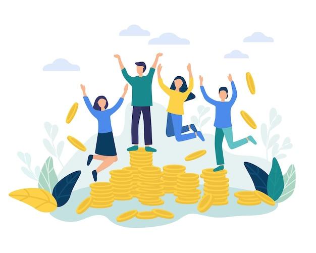 Les gens heureux se réjouissent et sautent obtenir une remise en argent profite à l'épargne-retraite