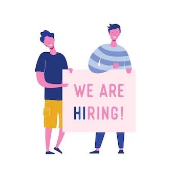 Des gens heureux tenant une bannière de recrutement, un concept de recrutement avec des personnages de personnes, une interview d'agence, rejoignez notre équipe modèle de page de destination web, présentation, médias sociaux.
