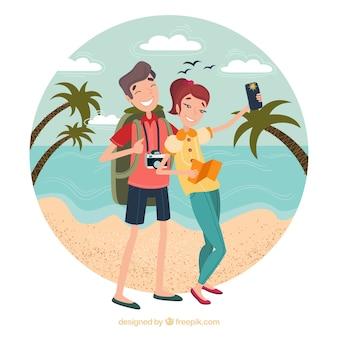 Des gens heureux voyageant autour du monde