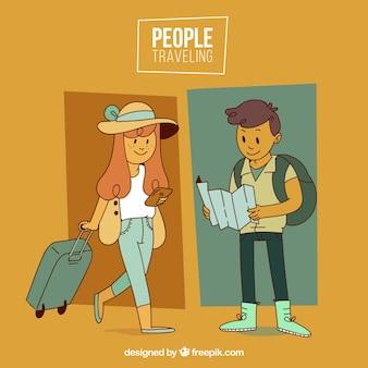 Des gens heureux voyageant