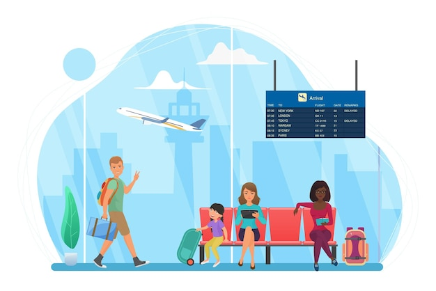 Les gens heureux voyagent attendre dans la zone d'attente de l'aéroport pour le vol homme marchant femme lisant
