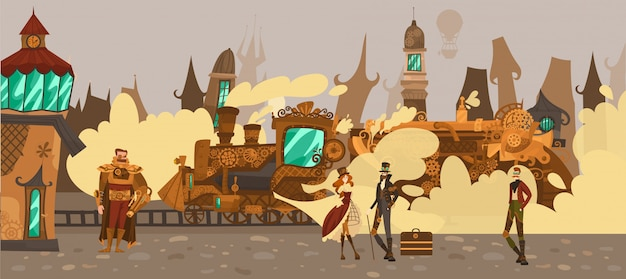 Gens historiques dans la ville de conte de fées avec de vieilles maisons d'architecture européenne, train à vapeur europe fantastique dans l'illustration de style de technologie steampunk.
