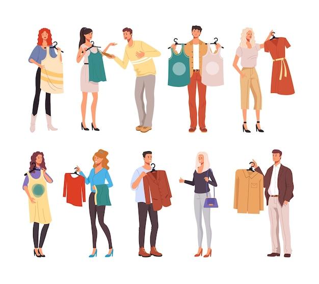 Gens homme femme consommateurs personnages essayant des vêtements.