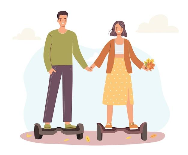 Les gens sur hoverboard. couple heureux à une date à l'extérieur en automne. illustration vectorielle dessinés à la main plat