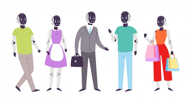 Les gens humanoïdes robot vecteur futuriste personnages de dessins animés cybernétiques cyber-vie