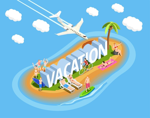 Les gens sur l'île pendant la composition isométrique des vacances à la plage sur bleu avec avion dans le ciel