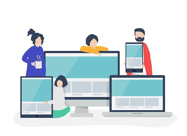 Gens avec illustration de concept de design web
