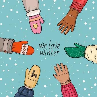 Les gens d'illustration d'hiver la main dans des mitaines et des gants