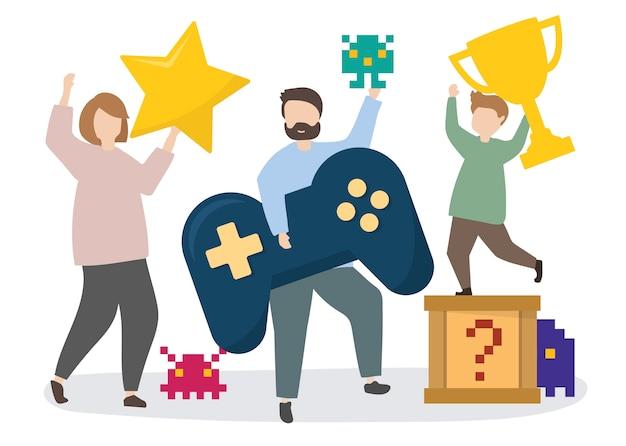 Gens avec illustration d'icônes de jeu