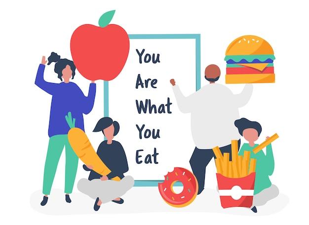 Gens avec illustration d'icônes de nourriture