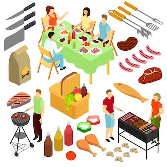 Les gens sur l'illustration de pique-nique homme femme friture viande barbecue ensemble isométrique en plein air isolé