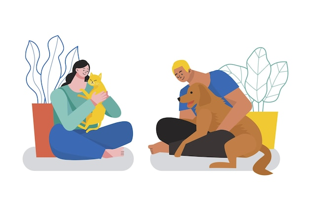 Gens d & # 39; illustration plat avec des animaux domestiques