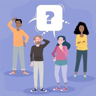 Gens d & # 39; illustration plat organique posant des questions