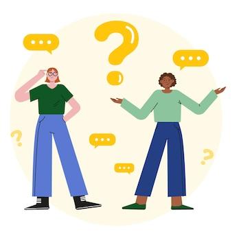 Gens d'illustration plat organique posant des questions
