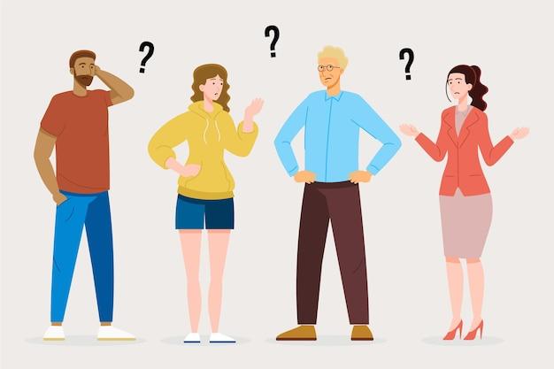 Gens d'illustration plate posant des questions