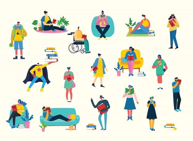 Les gens d'illustration vectorielle apprennent et acquièrent des connaissances. la conception créative du calendrier que les étudiants apprennent sur des livres.