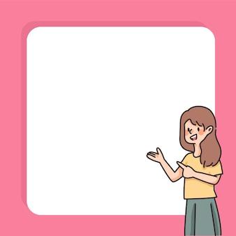 Les gens insérer du texte mignon dessin animé caractère note espace de texte