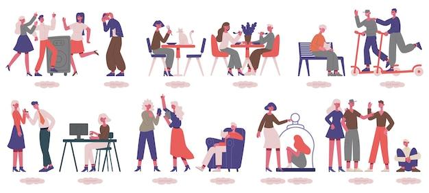 Des gens introvertis et extravertis. hommes et femmes non sociaux et sociables, ensemble psychologique