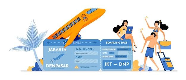 Les gens invitent des amis à acheter un billet d'avion pour les vacances