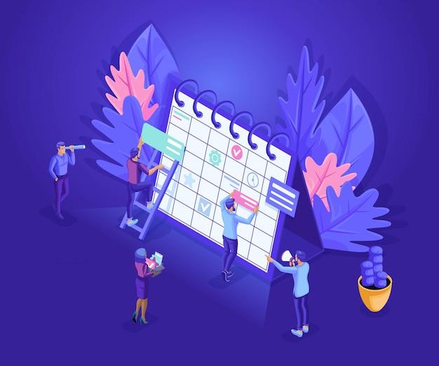 Les gens d'isométrie travaillent ensemble l'industrie du web les petits personnages font un emploi du temps en ligne.