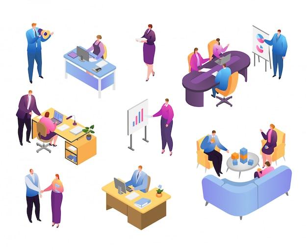 Gens isométriques dans le jeu d'illustration de bureau d'affaires, homme d'affaires de dessin animé et femme d'affaires travaillent icônes sur blanc