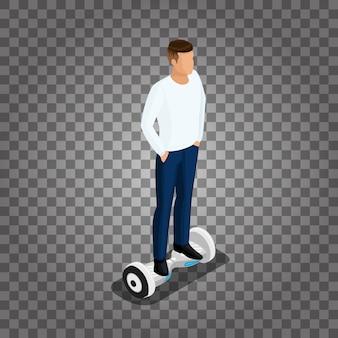 Gens isométriques, un homme jouant à un jeu, balade en 3d, contrôle de conduite.