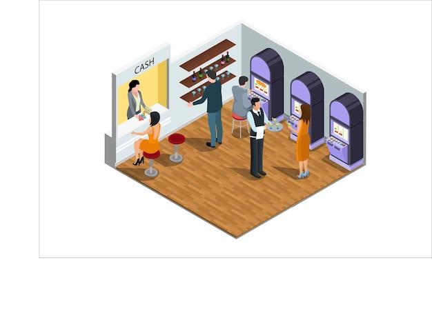 Les gens isométriques jouent à des jeux dans l'illustration vectorielle du centre de divertissement