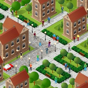 Les gens isométriques marchant dans la rue traversent la route