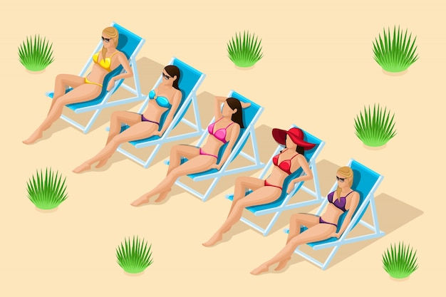 Les gens isométriques à la mode, ensemble de filles sur une plage de sable, sur des transats à bronzer, dans différents maillots de bain, dans un chapeau pour les illustrations de plage