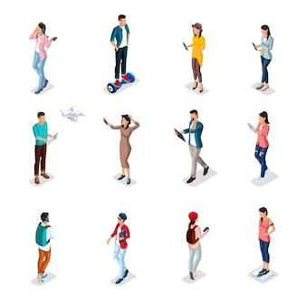 Les gens isométriques à la mode, une vue arrière de l'armoire d'un laboratoire, des scientifiques, des fournisseurs de soins de santé, des recherches, des expériences, des analyses, des employés de laboratoire