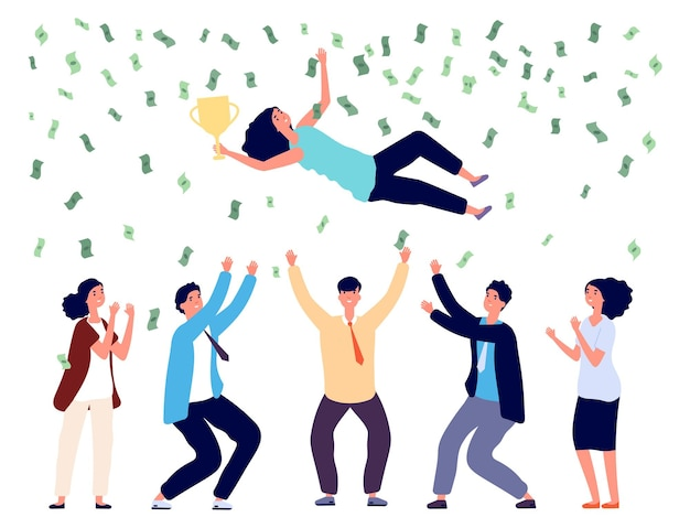 Les gens jettent la femme dans l'air. équipe commerciale célébrant la victoire, le projet final réussi ou les investissements. pluie d'argent, heureux homme femme gagnants vector illustration. vomir femme, célébration et récompense
