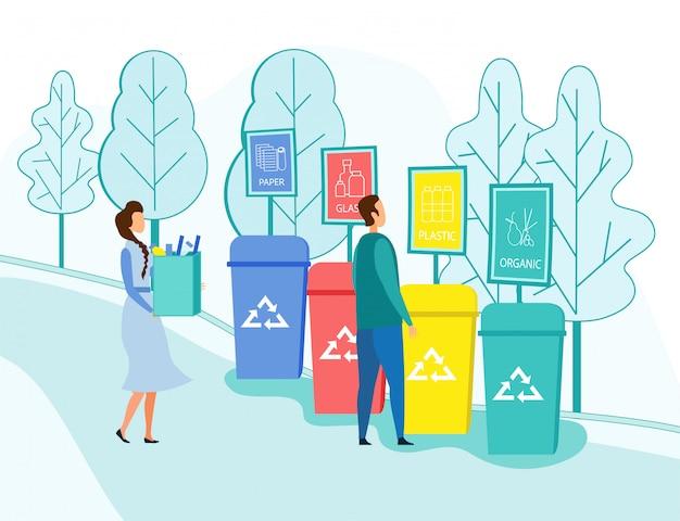 Les gens jettent des ordures dans des conteneurs de recyclage