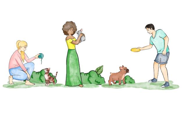 Les gens jouent avec leurs animaux de compagnie